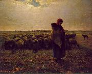 Jean-Franc Millet Shepherdess with her flock oil painting picture wholesale